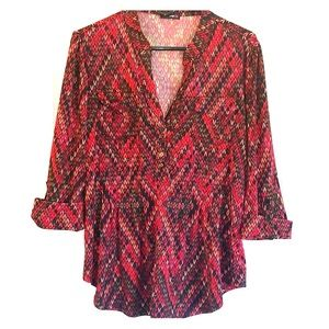 Empire Waist Patterned Blouse